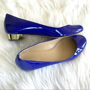 J. Crew Blue Patent Leather Gold Heel Flats